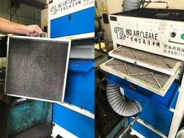 蓮因工業持續使用6年工業級空氣清淨機,定期更換濾棉、清潔